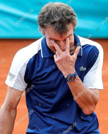 Swedish former tennis legend Mats Wilander in action during his match on the Senior Masters Cup of Valencia, eastern Spain, 18 Mary 2019, an event running from 17 to 18 May.