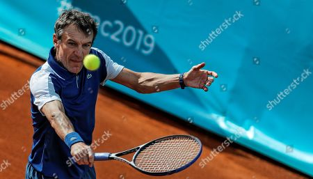 Stock Image of Swedish former tennis legend Mats Wilander in action during his match on the Senior Masters Cup of Valencia, eastern Spain, 18 Mary 2019, an event running from 17 to 18 May.