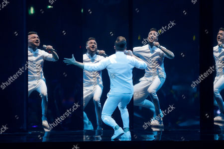 Contestant Sergey Lazarev of Russia performs 'Scream' during the Grand Final of the 64th annual Eurovision Song Contest (ESC) at the Expo Tel Aviv, in Tel Aviv, Israel, 18 May 2019.