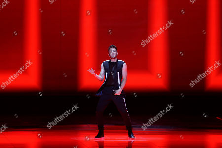 Contestant Luca Hanni of Switzerland performs 'She Got Me' during the Grand Final of the 64th annual Eurovision Song Contest (ESC) at the Expo Tel Aviv, in Tel Aviv, Israel, 18 May 2019.