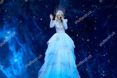 Contestant Kate Miller-Heidke of Australia performs 'Zero Gravity' during the Grand Final of the 64th annual Eurovision Song Contest (ESC) at the Expo Tel Aviv, in Tel Aviv, Israel, 18 May 2019.