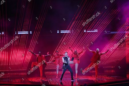 Stock Picture of Contestant Luca Hanni (C) of Switzerland performs 'She Got Me' during the Grand Final of the 64th annual Eurovision Song Contest (ESC) at the Expo Tel Aviv, in Tel Aviv, Israel, 18 May 2019.