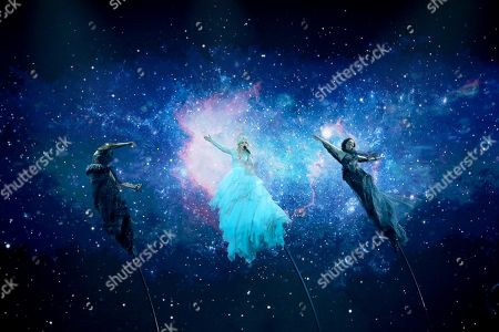 Contestant Kate Miller-Heidke (C) of Australia performs 'Zero Gravity' during the Grand Final of the 64th annual Eurovision Song Contest (ESC) at the Expo Tel Aviv, in Tel Aviv, Israel, 18 May 2019.