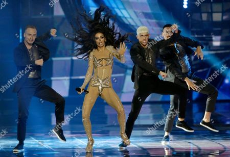 Eleni Foureira who presented Cyprus at the 2018 Eurovision performs during the Grand Final of the 64th annual Eurovision Song Contest (ESC) at the Expo Tel Aviv, in Tel Aviv, Israel, 18 May 2019.