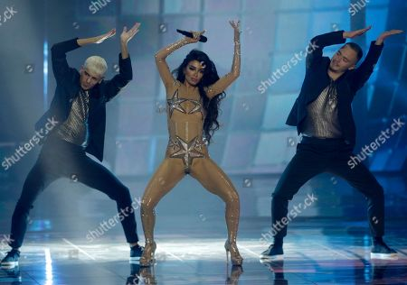Stock Photo of Eleni Foureira who presented Cyprus at the 2018 Eurovision performs during the Grand Final of the 64th annual Eurovision Song Contest (ESC) at the Expo Tel Aviv, in Tel Aviv, Israel, 18 May 2019.