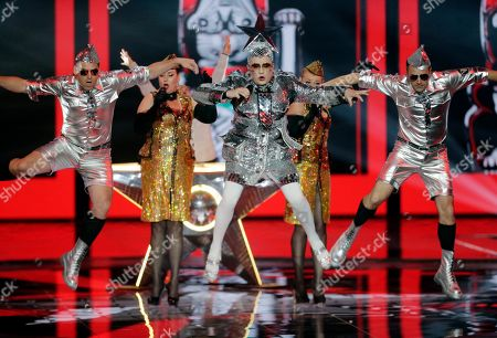 Verka Serduchka (C) performs during the Grand Final of the 64th annual Eurovision Song Contest (ESC) at the Expo Tel Aviv, in Tel Aviv, Israel, 18 May 2019.