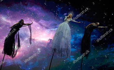 "Kate Miller-Heidke of Australia, center, performs the song ""Zero Gravity"" during the 2019 Eurovision Song Contest grand final in Tel Aviv, Israel"