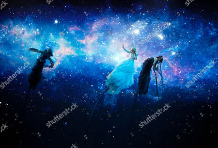 """Stock Picture of Kate Miller-Heidke of Australia, center, performs the song """"Zero Gravity"""" during the 2019 Eurovision Song Contest grand final in Tel Aviv, Israel"""