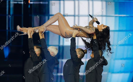 Former participant of the Eurovision Song Contest, Greek singer Eleni Foureira performs during the 2019 Eurovision Song Contest grand final in Tel Aviv, Israel