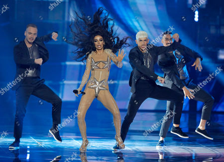 Stock Image of Former participant of the Eurovision Song Contest, Greek singer Eleni Foureira performs during the 2019 Eurovision Song Contest grand final in Tel Aviv, Israel