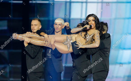 Stock Picture of Former participant of the Eurovision Song Contest, Greek singer Eleni Foureira performs during the 2019 Eurovision Song Contest grand final in Tel Aviv, Israel