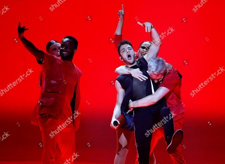 """Luca Hanni of Switzerland performs the song 'She Got Me"""" during the 2019 Eurovision Song Contest grand final in Tel Aviv, Israel"""