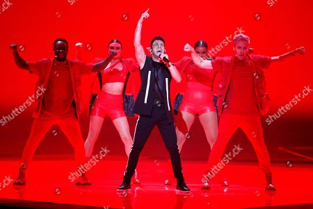 """Stock Image of Luca Hanni of Switzerland performs the song 'She Got Me"""" during the 2019 Eurovision Song Contest grand final in Tel Aviv, Israel"""