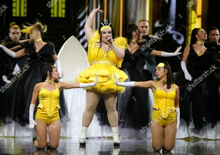 "Israeli Netta Barzilai, the winner of the 2018 Eurovision Song Contest performs ""Nana Banana"" during the 2019 Eurovision Song Contest grand final in Tel Aviv, Israel"