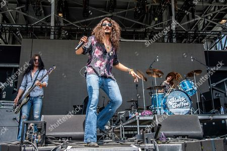 Nick Frantianne, Ehab Omran, Tommy McCullough. Nick Frantianne, from left, Ehab Omran, and Tommy McCullough of Black Coffee perform at the Sonic Temple Art and Music Festival at Mapfre Stadium, in Columbus, Ohio