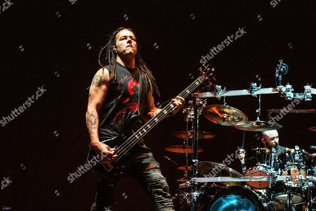John Moyer of Disturbed performs at the Sonic Temple Art and Music Festival at Mapfre Stadium, in Columbus, Ohio