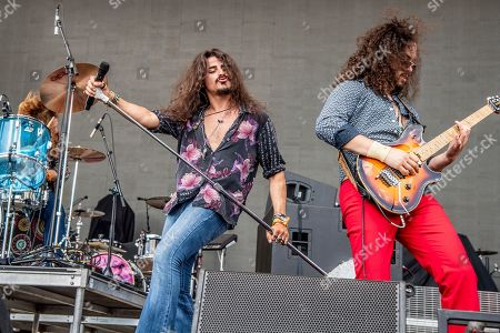 Ehab Omran, Justin Young. Ehab Omran, left, and Justin Young of Black Coffee perform at the Sonic Temple Art and Music Festival at Mapfre Stadium, in Columbus, Ohio