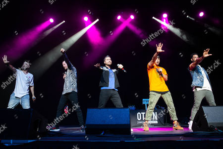 Stock Photo of *NSYNC - Lance Bass joins O-Town - Dan Miller, Jacob Underwood, Erik-Michael Estrada and Trevor Penick