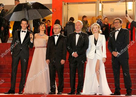 Sabin Tambrea, Catrinel Marlon, Corneliu Porumboiu, Vlad Ivanov, Rodica Lazar, and Agusti Villaronga arrive for the screening of 'The Whistlers' during the 72nd annual Cannes Film Festival, in Cannes, France, 18 May 2019. The movie is presented in the Official Competition of the festival which runs from 14 to 25 May.