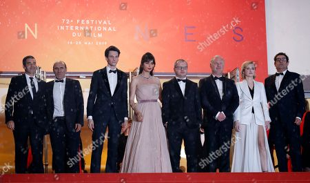 Stock Image of (3L-R) Sabin Tambrea, Catrinel Marlon, Corneliu Porumboiu, Vlad Ivanov, Rodica Lazar, and Agusti Villaronga arrive for the screening of 'The Whistlers' during the 72nd annual Cannes Film Festival, in Cannes, France, 18 May 2019. The movie is presented in the Official Competition of the festival which runs from 14 to 25 May.