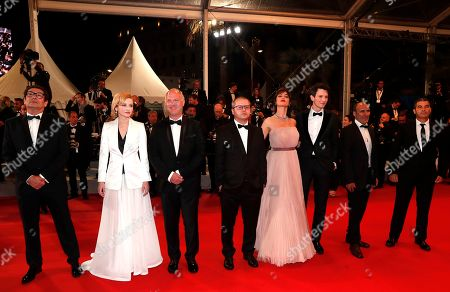 Mihai Busuioc, Austin Butler, Sabin Tambrea, Catrinel Marlon, Corneliu Porumboiu, Vlad Ivanov, Rodica Lazar and Agusti Villaronga arrive for the screening of 'The Whistlers' during the 72nd annual Cannes Film Festival, in Cannes, France, 18 May 2019. The movie is presented in the Official Competition of the festival which runs from 14 to 25 May.