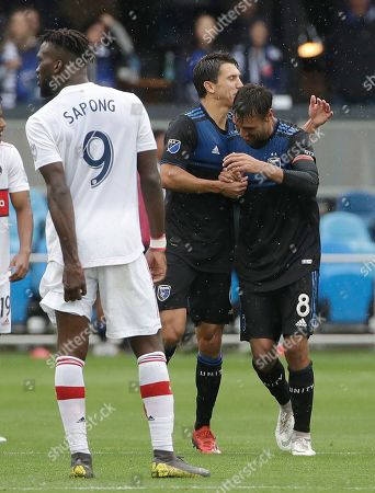 Chris Wondolowski, Shea Salinas. San Jose Earthquakes forward Chris Wondolowski, right, is congratulated by Shea Salinas after scoring a goal against the Chicago Fire during the second half of of an MLS soccer match in San Jose, Calif., . Wondolowski scored four times to pass Landon Donovan for most career MLS goals