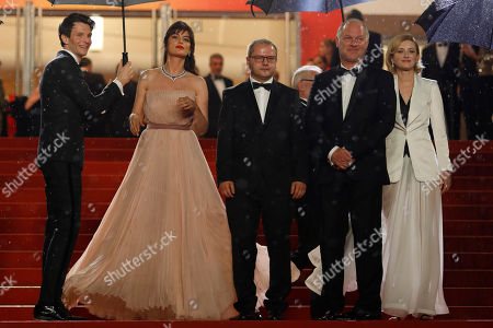 Sabin Tambrea, Catrinel Marlon, Corneliu Porumboiu, actors Vlad Ivanov, Rodica Lazar, Agusti Villaronga,Thierry Fremaux, Francisco Corea, Antonio Buil. Actors Sabin Tambrea, from left, Catrinel Marlon, director Corneliu Porumboiu, actors Vlad Ivanov and Rodica Lazar pose for photographers upon arrival at the premiere of the film 'The Whistlers' at the 72nd international film festival, Cannes, southern France