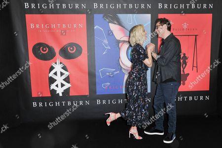 "Elizabeth Banks, David Yarovesky. Elizabeth Banks, left, and David Yarovesky attend a photo call for ""Brightburn"" at the Four Seasons Hotel, in Los Angeles"