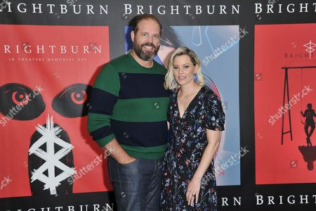 "David Denman, Elizabeth Banks. David Denman, left, and Elizabeth Banks attend a photo call for ""Brightburn"" at the Four Seasons Hotel, in Los Angeles"