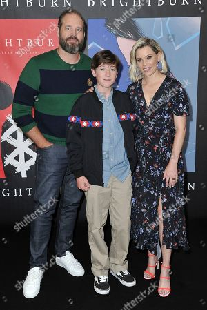 """David Denman, Jackson A. Dunn, Elizabeth Banks. David Denman, from left, Jackson A. Dunn and Elizabeth Banks attend a photo call for """"Brightburn"""" at the Four Seasons Hotel, in Los Angeles"""