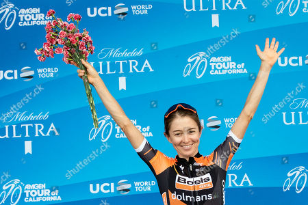 Stock Photo of Overall Women 2019 AMGEN Tour of California race second place Katie Hall from USA celebrates after she crossed the finish line of the seventh and last stage at the Rose Bowl Stadium in Pasadena, California, USA, 18 May 2019.