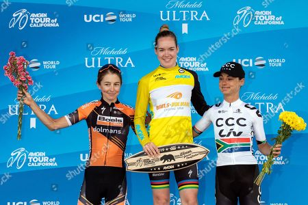 Stock Picture of Overall Women 2019 AMGEN Tour of California race winner Anna van der Breggen from Netherlands (C) celebrates next to second place Katie Hall from USA (L) and third place Ashleigh Moolman from South Africa after they crossed the finish line of the seventh and last stage at the Rose Bowl Stadium in Pasadena, California, USA, 18 May 2019.