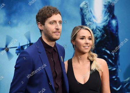 """Stock Image of Thomas Middleditch, Mollie Gates. Thomas Middleditch, left, and Mollie Gates arrive at the Los Angeles premiere of """"Godzilla: King of The Monsters"""", at the TCL Chinese Theatre"""