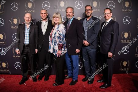 Joe Weisberg, Joel Fields, Mary Rae Thewlis, Graham Yost, Chris Long and Stephen Schiff attend the 78th annual Peabody Awards Ceremony in New York, New York, USA, 18 May 2019. The Peabody Awards, named after American philanthropist George Peabody, recognize extraordinary stories in seven categories; news, entertainment, documentaries, children's programming, education, interactive programming, and public service.