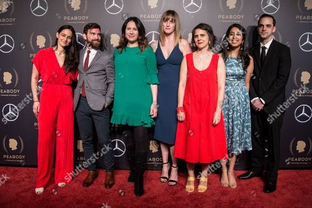 Lisa Tobin, Andy Mills, Rukmini Callimachi, Larissa Anderson, Wendy Dorr, Asthaa Chaturvedi and Brad Fisher attend the 78th annual Peabody Awards Ceremony in New York, New York, USA, 18 May 2019. The Peabody Awards, named after American philanthropist George Peabody, recognize extraordinary stories in seven categories; news, entertainment, documentaries, children's programming, education, interactive programming, and public service.
