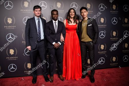 Michael Schur, William Jackson Harper, D'Arcy Carden and Manny Jacinto attend the 78th annual Peabody Awards Ceremony in New York, New York, USA, 18 May 2019. The Peabody Awards, named after American philanthropist George Peabody, recognize extraordinary stories in seven categories; news, entertainment, documentaries, children's programming, education, interactive programming, and public service.