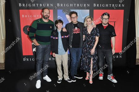 "Stock Photo of David Denman, Jackson A. Dunn, James Gunn, Elizabeth Banks, David Yarovesky. David Denman, from left, Jackson A. Dunn, James Gunn, Elizabeth Banks and David Yarovesky attend ""American Horror Story: Apocalypse"" FYC event at NeueHouse Hollywood, in Los Angeles"