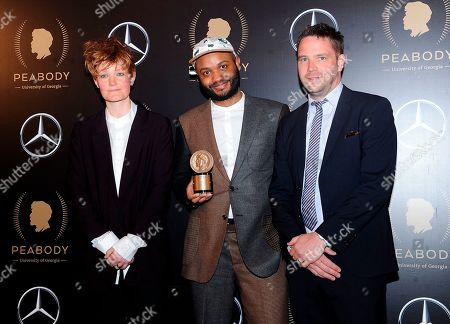 "Charlie Covell, Dominic Buchanan, Andy Baker. Actors Charlie Covell, left, Dominic Buchanan, center, and Andy Baker pose with Peabody Award for ""The End of the F***ing World"" in the press room at the 78th annual Peabody Awards at Cipriani Wall Street, in New York"