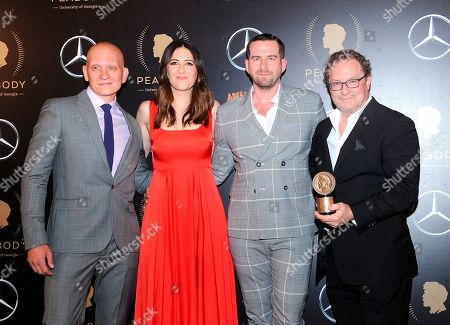 Anthony Carrigan, D'Arcy Carden, Rightor Doyle, Stephen Root. Anthony Carrigan, from left, D'Arcy Carden, Rightor Doyle, and Stephen Root pose for a photo in the press room at the 78th annual Peabody Awards at Cipriani Wall Street, in New York