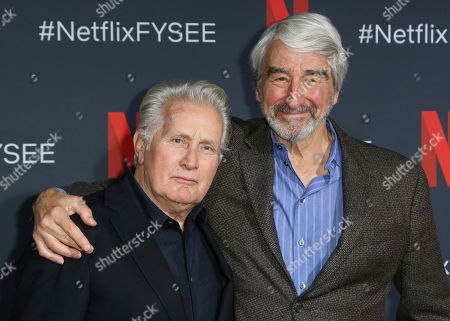 """Martin Sheen, Sam Waterston. Martin Sheen, left, and Sam Waterston arrive at the """"Grace and Frankie"""" FYC event at the Netflix FYSEE at the Raleigh Studios, in Los Angeles"""