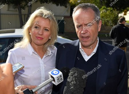 Stock Picture of Federal leader of the Opposition Bill Shorten (R) speaks to media aside wife Chloe outside their property in Moonee Ponds, Melbourne, Victoria, Australia, 19 May 2019. Shorten has addressed the media outside his home following his defeat in the 2019 Federal Election last night. Media reports state that he would resign as the party leader.