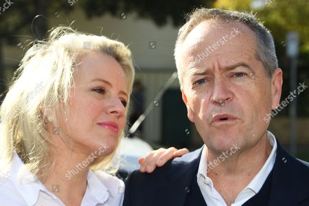 Stock Photo of Federal leader of the Opposition Bill Shorten (right) speaks to media aside wife Chloe outside their property in Moonee Ponds, Melbourne, Victoria, Australia, 19 May 2019. Shorten has addressed the media outside his home following his defeat in the 2019 Federal Election last night. Media reports state that he would resign as the party leader.