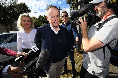Federal leader of the Opposition Bill Shorten (C) and wife Chloe depart a doorstop outside his property in Moonee Ponds, Melbourne, Victoria, Australia, 19 May 2019. Shorten has addressed the media outside his home following his defeat in the the 2019 Federal Election last night. Media reports state that he would resign as the party leader.