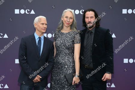 Klaus Biesenbach, Alexandra Grant, Keanu Reeves. Director of the MOCA, Klaus Biesenbach, from left, Alexandra Grant, and Keanu Reeves attend the 2019 MOCA benefit at the Geffen Contemporary on in Los Angeles
