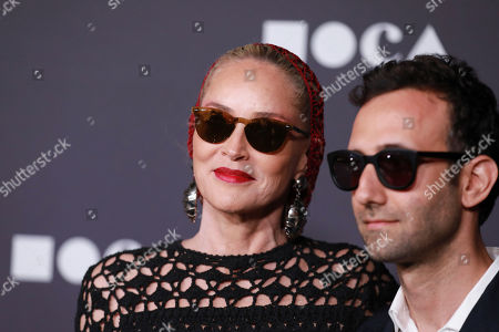 Sharon Stone, Alex Israel. Sharon Stone and Alex Israel attends the 2019 MOCA benefit at the Geffen Contemporary on in Los Angeles