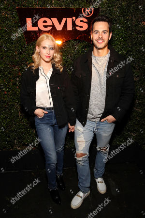 Claudia Lee, Jayson Blair. Claudia Lee and Jayson Blair seen at the Levi's 501 Day Hosted by Hailey Bieber and Heron Preston, in West Hollywood, Calif
