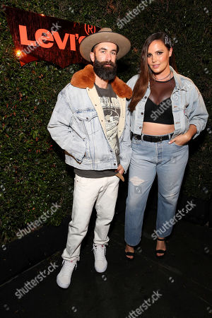 Matt Powers, Candice Huffine. Matt Powers and Candice Huffine seen at the Levi's 501 Day Hosted by Hailey Bieber and Heron Preston, in West Hollywood, Calif