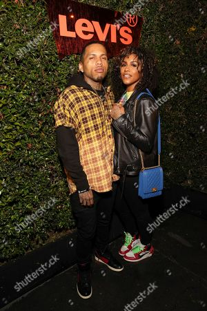 Kid Ink and guest seen at the Levi's 501 Day Hosted by Hailey Bieber and Heron Preston, in West Hollywood, Calif