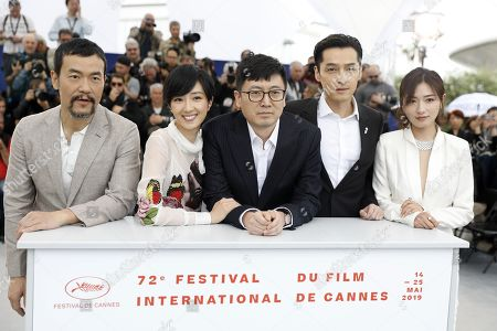 Liao Fan, Taiwanese actress Gwei Lun Mei, Chinese director Diao Yinan, Chinese actor Hu Ge and Chinese actress Wan Qian pose during the photocall for 'Nan Fang Che Zhan De Ju Hui' (The Wild Goose Lake) at the 72nd annual Cannes Film Festival, in Cannes, France, 19 May 2019. The movie is presented in the Official Competition of the festival which runs from 14 to 25 May.