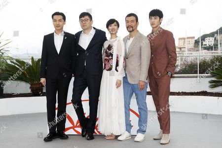Hu Ge, Chinese director Diao Yinan, Taiwanese actress Gwei Lun Mei, Chinese actor Liao Fan and Chinese actor Zhang Yicong pose during the photocall for 'Nan Fang Che Zhan De Ju Hui' (The Wild Goose Lake) at the 72nd annual Cannes Film Festival, in Cannes, France, 19 May 2019. The movie is presented in the Official Competition of the festival which runs from 14 to 25 May.